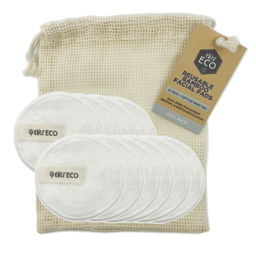 Bamboo Reusable Facial Pads, White